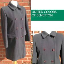 Da Donna Verde Lana Cappotto ~ UNITED COLORS OF BENETTON ~ Medium UK12-14 ~ doppio petto