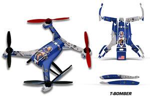 Blade 350 QX2 Drone Wrap RC Quadcopter Decal Sticker Skin Accessory TBOMBER BLUE