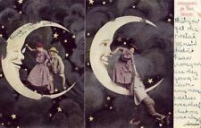 Pre-1907 Spooning In The Moon Sneezing Moon With Couple