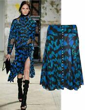 PROENZA SCHOULER Blue A-line Printed Silk Chiffon Lace Skirt 4 BRAND NEW