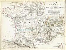 Johnston MILITAIRE carte de France 1848 Print A447