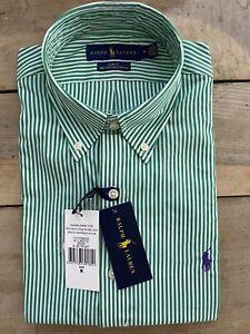 BNWT Mens Polo Ralph Lauren Oxford shirt medium slim fit green and white striped