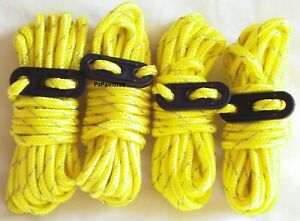 4x Hi Vis Yellow Guyline Tent Rope Runners Camping Guy Line Cord Paracord Safety