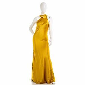 GALVAN LONDON 710B Sienna Bias-Tie-Neck Satin Slip Dress in Mustard