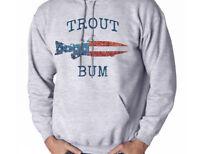 reputable site 02237 5b163 Trout Bum Fly Fishing American Flag Men s Sweatshirt Hooded Shirt Hoodie  Gift