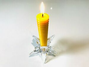 NEW /GLASS STAR CANDLE HOLDER WITH  2 X SPIRAL CORKSCREW BEES WAX CANDLE SET UK