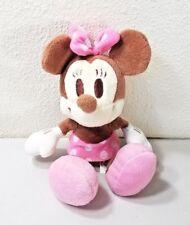 "Disney Sega Minnie Mouse Pink Brown Cream Polka Dot Plush 9"""