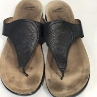 Dansko Priya Leather Sandals Thong Cork Soles Black Leather Tooled EUR 40