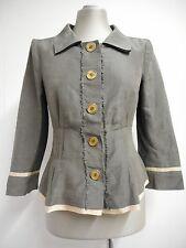 Beautiful jacket by Alberta Ferretti soft grey linen & silk ivory edged UK8
