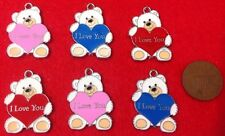 "Set of 6 Bespoke ""I LOVE YOU"" Teddy Bear Charms Blue Pink Red Enamel Charms -K1"