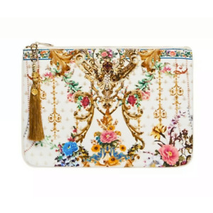 """NWT $99 CAMILLA """"BY THE MEADOW"""" WHITE FLORAL CRYSTAL CANVAS BAG CLUTCH POUCH"""