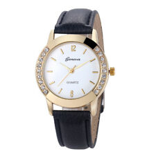 Fashion Ladies Diamonds Stainless Steel Leather Quartz Analog Wrist Watch