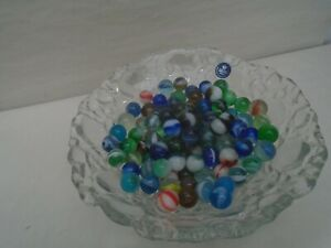Fantastic collection of vintage glass marbles with unusual lava crystal bowl