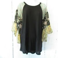 New Umgee Top 2X Waffle Knit Floral Paisley Ruffle Sleeve Boho Peasant Plus Size