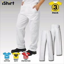 3X CARGO PAINTERS WORK PANTS TROUSERS IN 100% COTTON DRILL HEAVY WEIGHT WORKWEAR
