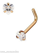 """Nose L Bend Ring Rose Gold Plate w/Heart Clear 3mm Gem 20 Gauge 1/4"""" Body Jewelr"""