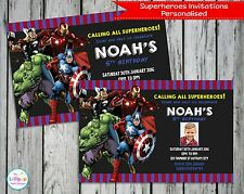 SUPERHERO INVITATIONS INVITE AVENGERS PERSONALISED CARDS BOYS BIRTHDAY HULK