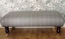 A Quality Long Footstool In Laura Ashley Elmore Steel Fabric