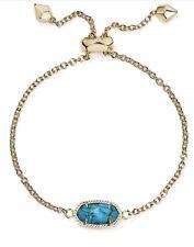 New! Kendra Scott Signature Elaina Bracelet Gold/Turquoise w/pouch $60.00
