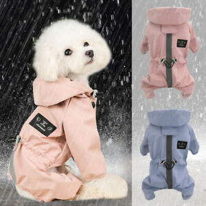 Dog Raincoats Waterproof Reflective Small Medium Dog Coat Jacket Jumpsuit Hooded