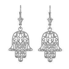14k White Gold Filigree Hamsa Drop / Dangle Leverback Earrings