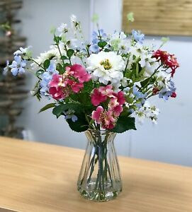 Artificial Flower Arrangement, Cream, Pink, Blue Country Display, Vase,