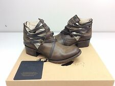 FREEBIRD by Steven Stair Grey Distressed Leather Ankle Boot Bootie Size 7 Cutout