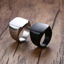 Black/Gold/Silver Big Square Band Men's Stainless Steel Polished Ring Size 7-14