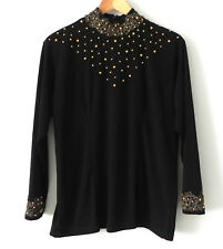 Vtg Handmade Black Top Long Sleeve Beading Lace Trim Stand Neck Size L