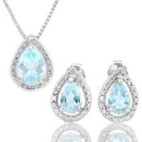 Set Jillian, Anhänger/Ohrstecker, 925 Silber, 1,425 Kt. echter Blautopas/Diamant