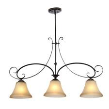 Hampton Bay Essex 3-Light Aged Black Island Pendant with Tea Stained Glass Shade