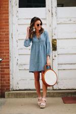 Damen V-Ausschnitt Denim Hemdkleid Shirtkleid Freizeitkelid Minikleid Jeanskleid