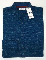 NWT William Rast Blue Long Sleeve Shirt Mens Size M L XXL Gage NEW Geometric