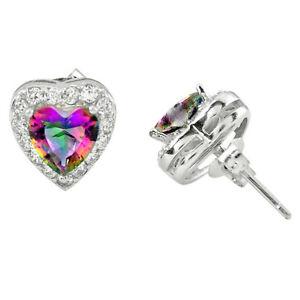 Multi Color Rainbow Topaz Topaz 925 Sterling Silver Stud Heart Earrings C10558