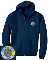 United States Army EMBROIDERED Navy Blue Zipper Hoodie Sweatshirt New US Army