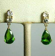 14K solid yellow gold teardrop Emerald & white Topaz earring/teens