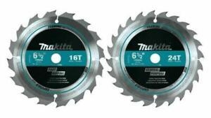 1  x MAKITA 165mm  16 & 24 TOOTH TUNGSTEN CIRCULAR SAW BLADE COMBO SET T-01426