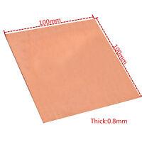 1PC 99.99% Pure Copper Cu Metal Sheet Plate 0.8mm*100mm*100mm