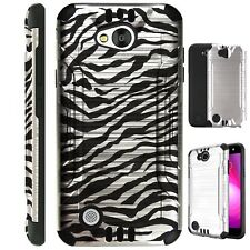 SILVER GUARD For LG Fiesta 2/X Power 2/X Charge Phone Case Brush Hybrid Cover D4