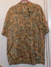 Tori Richard Beige Floral Cotton Lawn Hawaiian Shirt- Mens Size L - NWOT