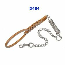Guinzaglio Manigliotto in cuoio con catena e molla ,   D484