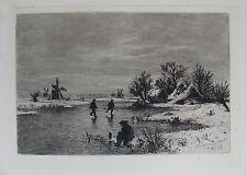 OLD ETCHING by BARON GLEICHEN RUSSWURM SKATERS c1881 HOLLAND ANTIQUE SCENE