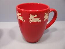 White Emma Reindeer on Red Latte Mugs Set of 4 Waechtersbach Fun Factory NEW