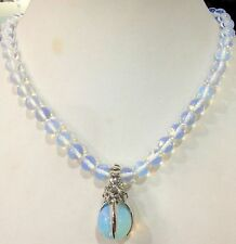 """Beautiful Natural White Opal Round Beads Gems Pendant Necklace 18"""""""