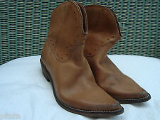 STRATEGIA PERFORATED VINTAGE TAN LEATHER ANKLE BOOTS size 37