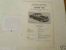 DOD3-- DODGE 1955 TYPE KINGSWAY EN CUSTOM D-59  X 8 CYLINDER,TECHNICAL INFO CAR