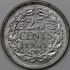 1941 NETHERLANDS 25 CENTS SILVER COIN
