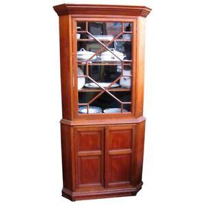 Antique American Walnut Corner Cabinet Circa 1850