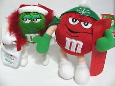 M&M Lot of 2 Red Snowboard Ski + Green I love Christmas Shopping Plush w Tag Set