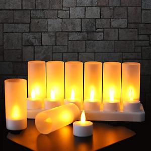 Lot De 12 Bougie LED Rechargeable Bougie Electrique LED Flamme Vacillante Cadeau